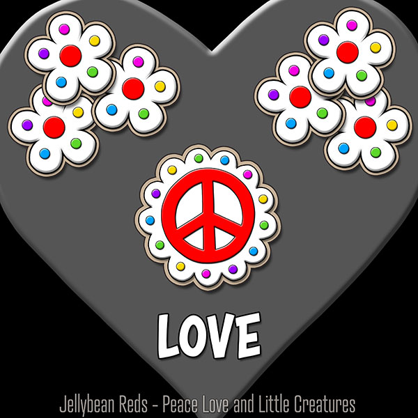 Gray Heart with Peace Sign and Flowers - Love