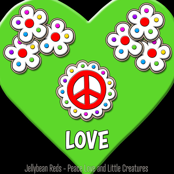 Green Heart with Peace Sign and Flowers - Love
