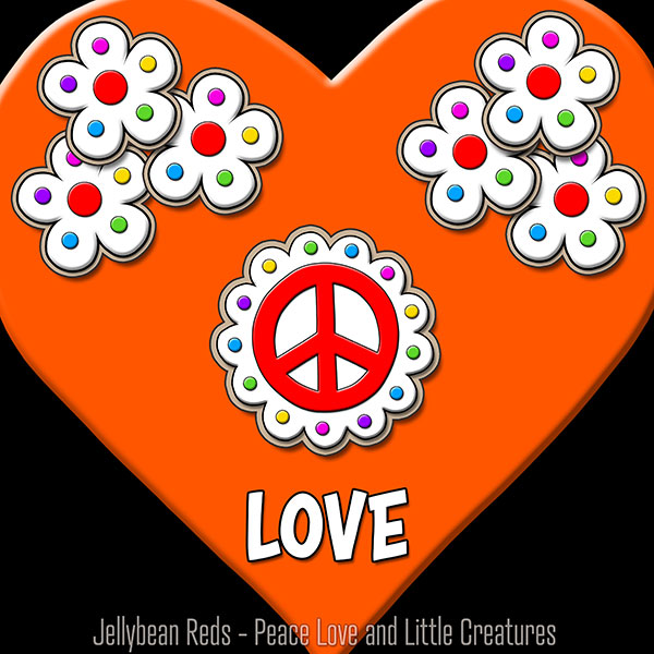 Orange Heart with Peace Sign and Flowers - Love