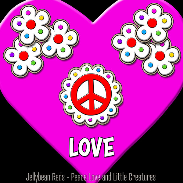 Pink Heart with Peace Sign and Flowers - Love