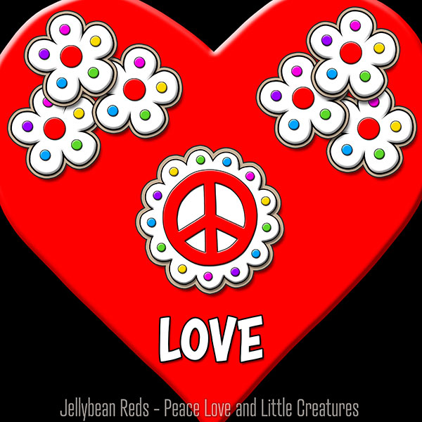 Red Heart with Peace Sign and Flowers - Love