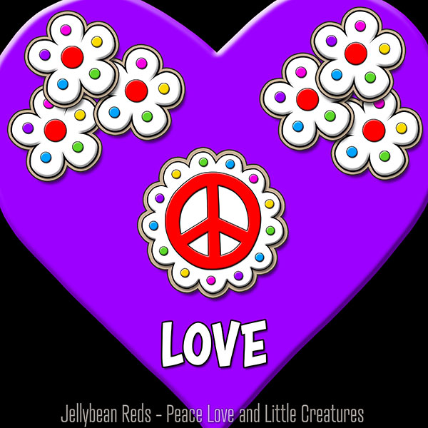Violet Heart with Peace Sign and Flowers - Love