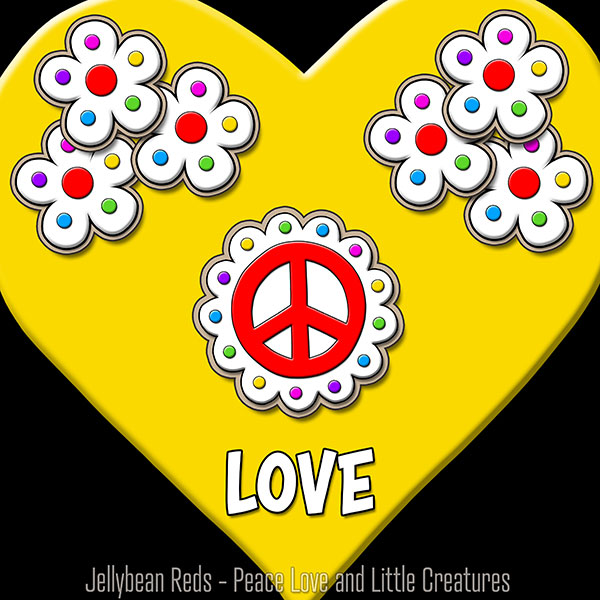 Yellow Heart with Peace Sign and Flowers - Love