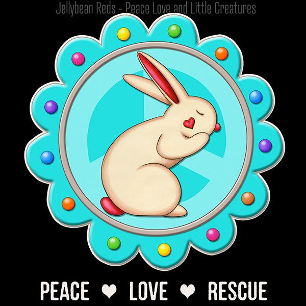 Peace Love Rescue - Rabbit Medallion - Aqua on Black