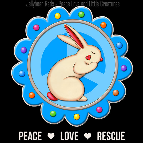 Peace Love Rescue – Color on Black Collection