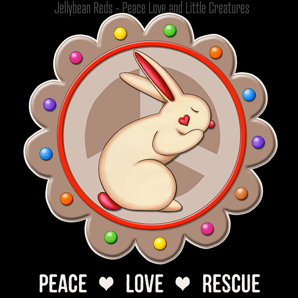 Peace Love Rescue - Rabbit Medallion - Brown on Black