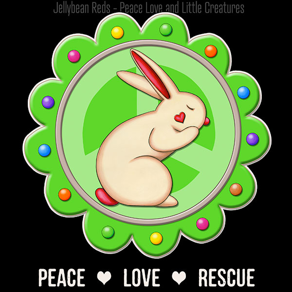 Peace Love Rescue - Rabbit Medallion - Green on Black