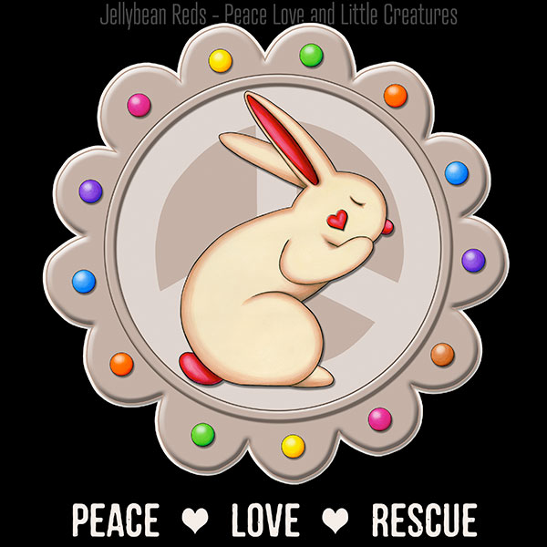 Peace Love Rescue - Rabbit Medallion - Mocha on Black