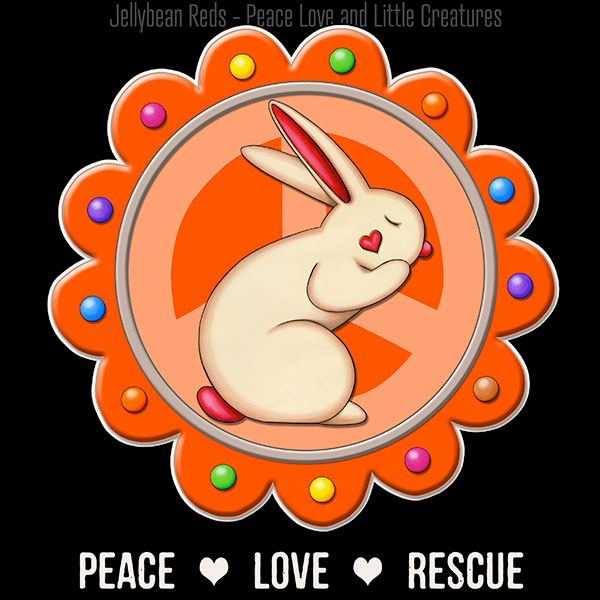 Peace Love Rescue - Rabbit Medallion - Orange on Black