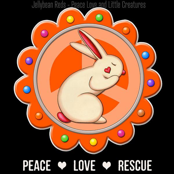 Peace Love Rescue - Rabbit Medallion - Orange on Black