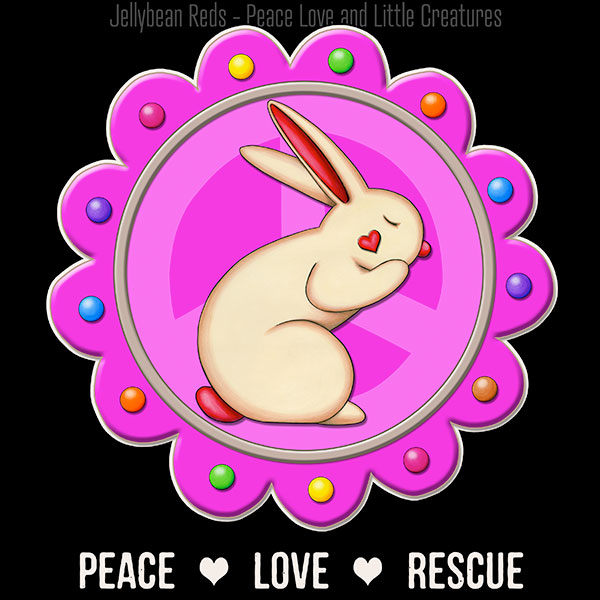 Peace Love Rescue - Rabbit Medallion - Pink on Black