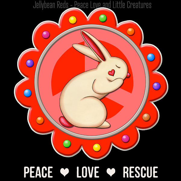 Peace Love Rescue - Rabbit Medallion - Red on Black