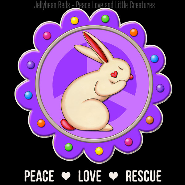 Peace Love Rescue - Rabbit Medallion - Violet on Black
