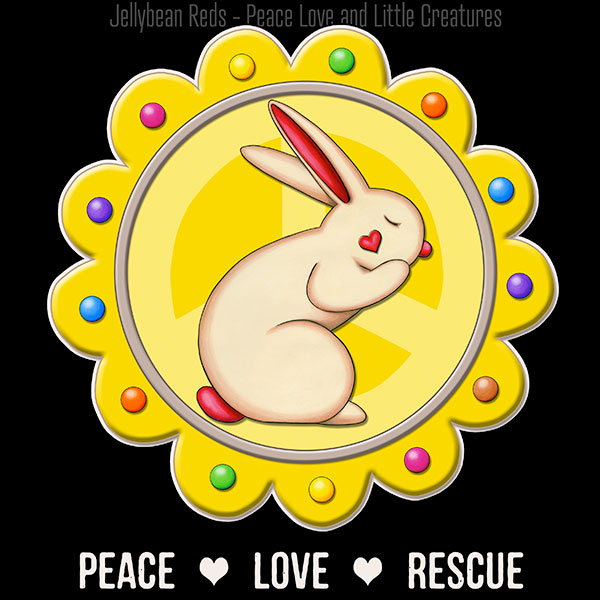 Peace Love Rescue - Rabbit Medallion - Yellow on Black