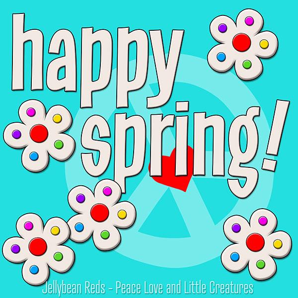 Happy Spring - White Flowers with Rainbow Dots - Aqua