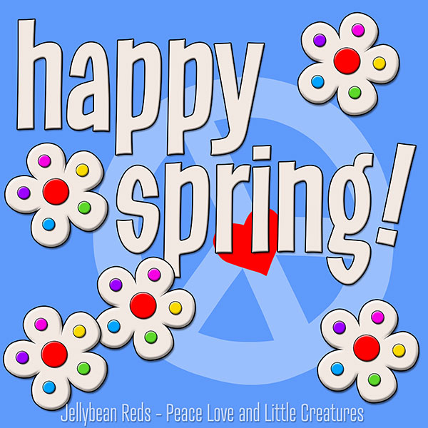 Happy Spring - White Flowers with Rainbow Dots - Blue