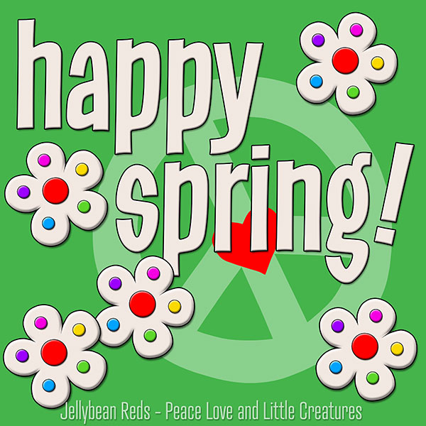 Happy Spring - White Flowers with Rainbow Dots - Green