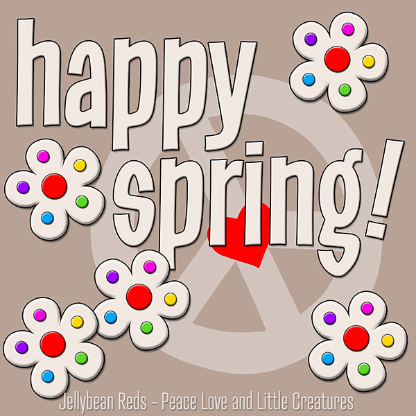 Happy Spring - White Flowers with Rainbow Dots - Mocha