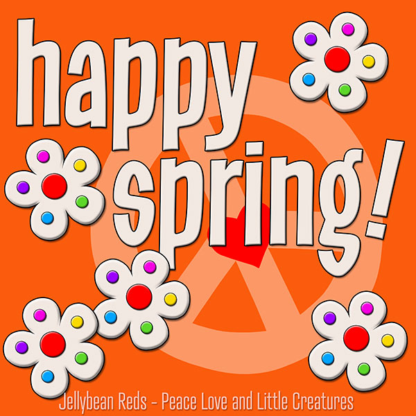Happy Spring - White Flowers with Rainbow Dots - Orange
