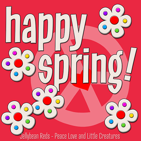 Happy Spring - White Flowers with Rainbow Dots - Red