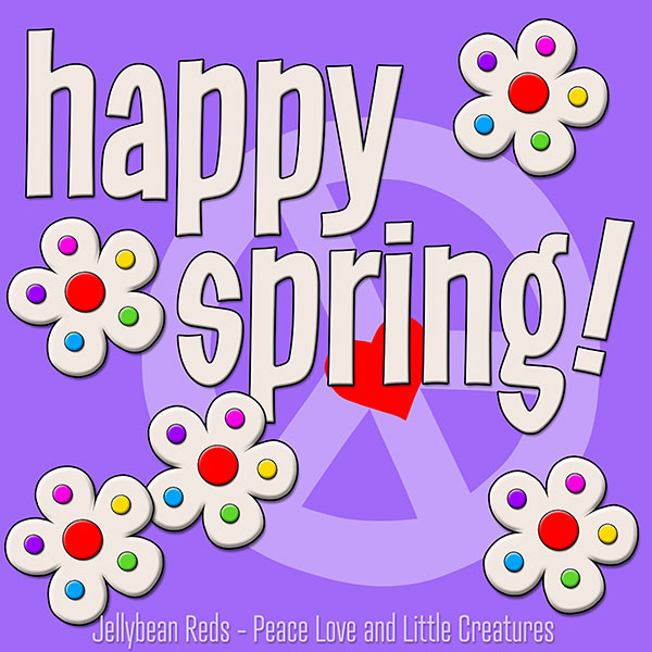 Happy Spring - White Flowers with Rainbow Dots - Violet