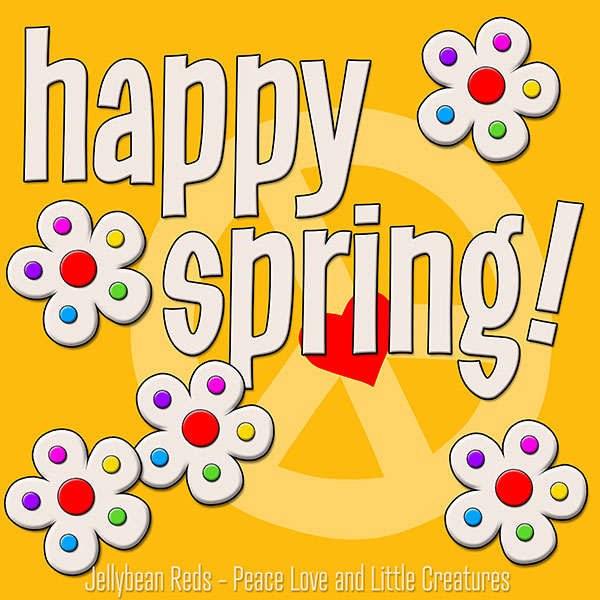Happy Spring - White Flowers with Rainbow Dots - Yellow