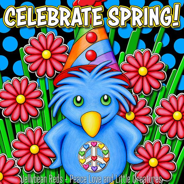 Celebrate Spring - Bird Wearing Party Hat