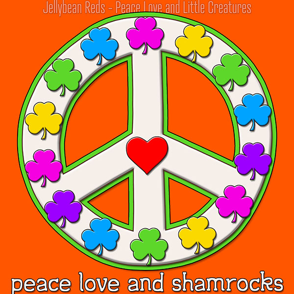 Peace Love and Shamrocks - White on Orange