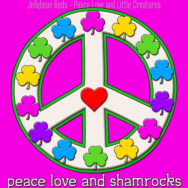 SQU Title: Peace Love and Shamrocks - White on Pink