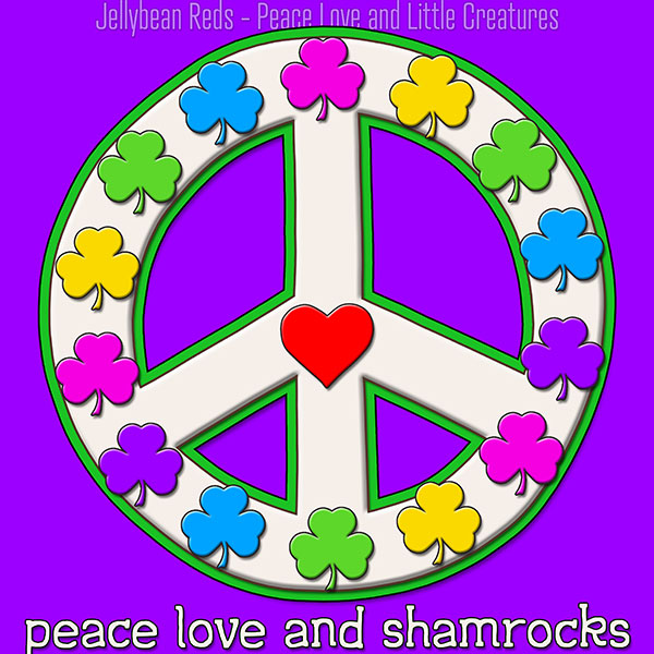 Peace Love and Shamrocks - White on Violet
