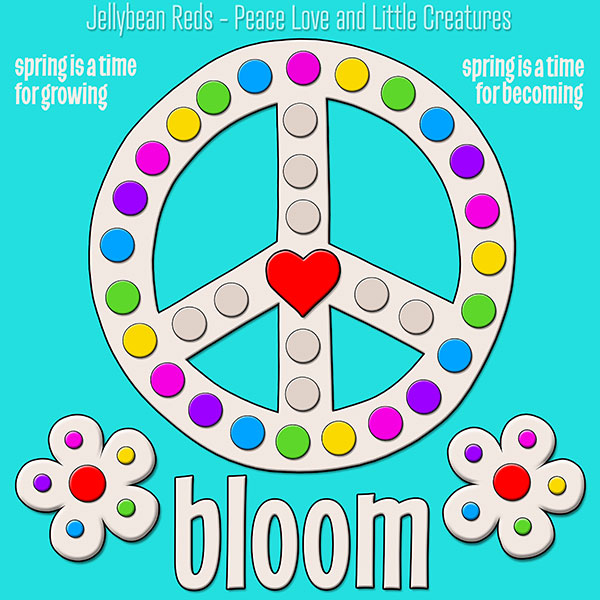 Blooming Peace Sign with Rainbow Dots - Aqua