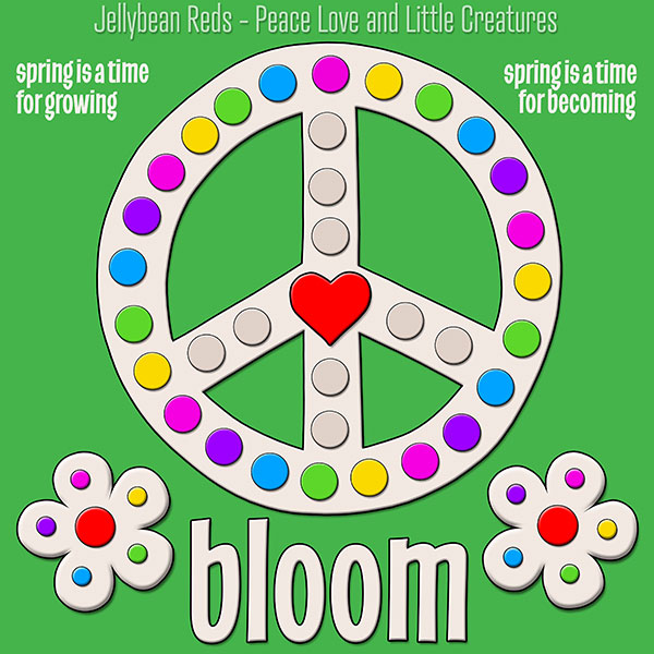Blooming Peace Sign with Rainbow Dots - Green