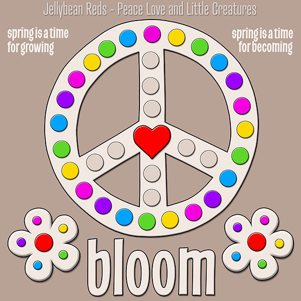 Blooming Peace Sign with Rainbow Dots - Mocha