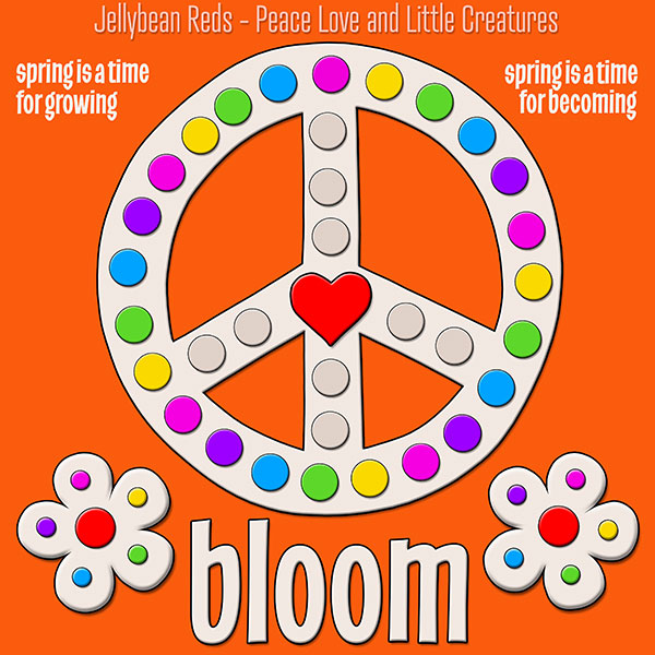 Blooming Peace Sign with Rainbow Dots - Orange