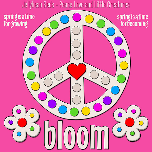 Blooming Peace Sign with Rainbow Dots - Pink