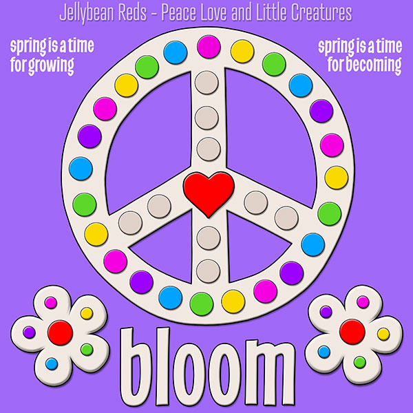 Blooming Peace Sign with Rainbow Dots - Violet