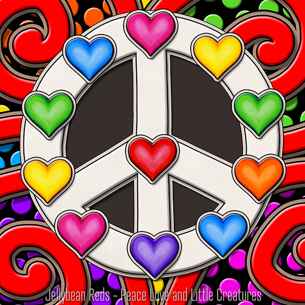 Peace Sign with Rainbow Hearts - Carnival Style