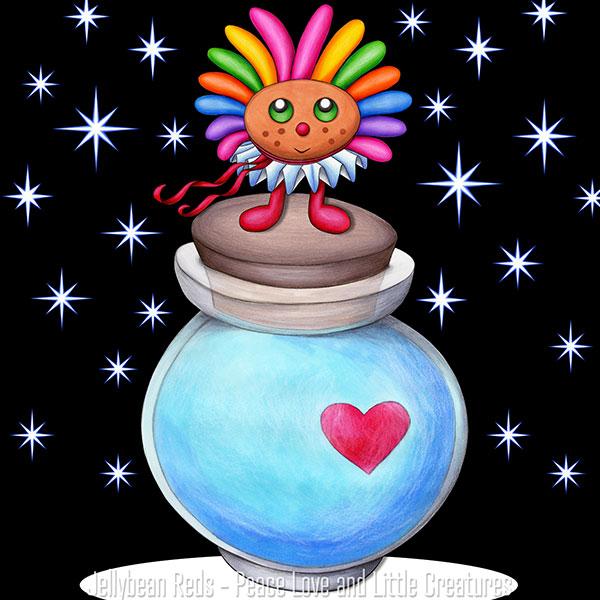 Rainbow Muse Standing on Moon Bottle in Spotlight