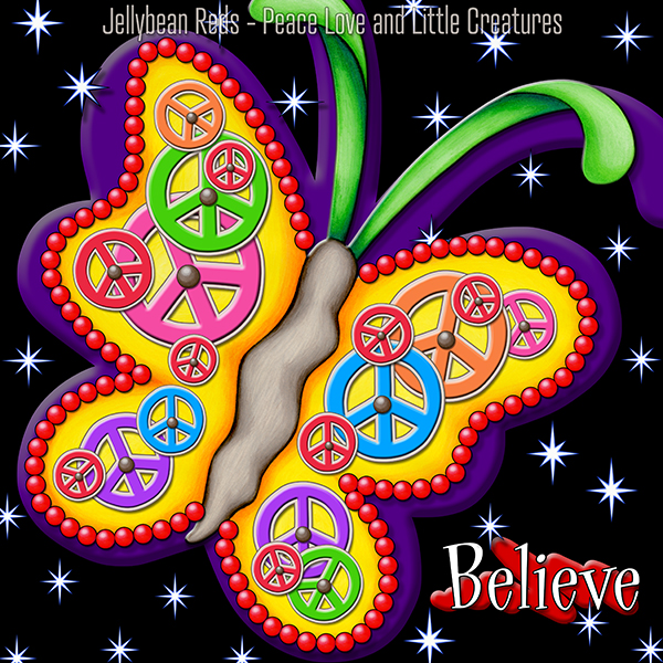 Believe - Clockwork Butterfly with Stars