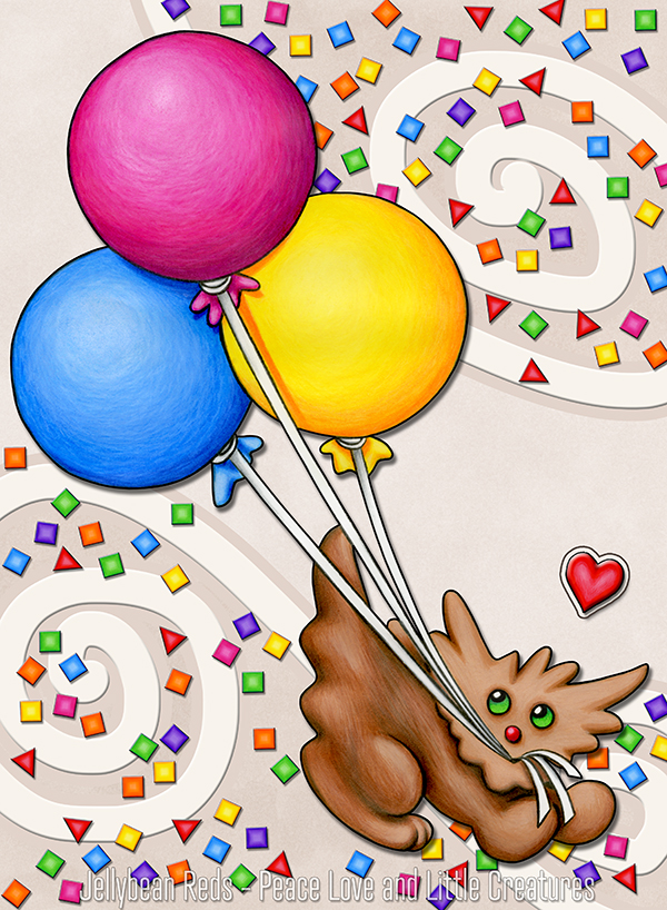 Fun Dog with Balloons, Confetti and Heart