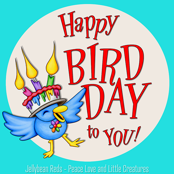 Happy Bird Day to You - Bird Wearing Cake Hat