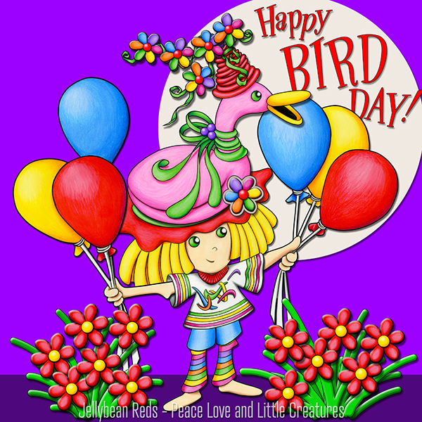 Happy Bird Day - Girl with Flamingo Hat and Balloons