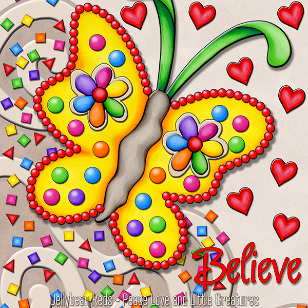 Believe - Playful Butterfly with Confetti and Hearts