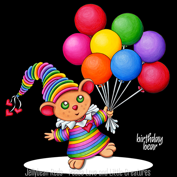 Birthday Bear with Rainbow Balloons in Spotlight