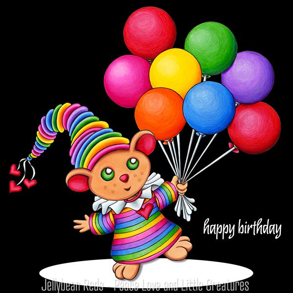 Birthday Bear with Rainbow Balloons in Spotlight - Happy Birthday!