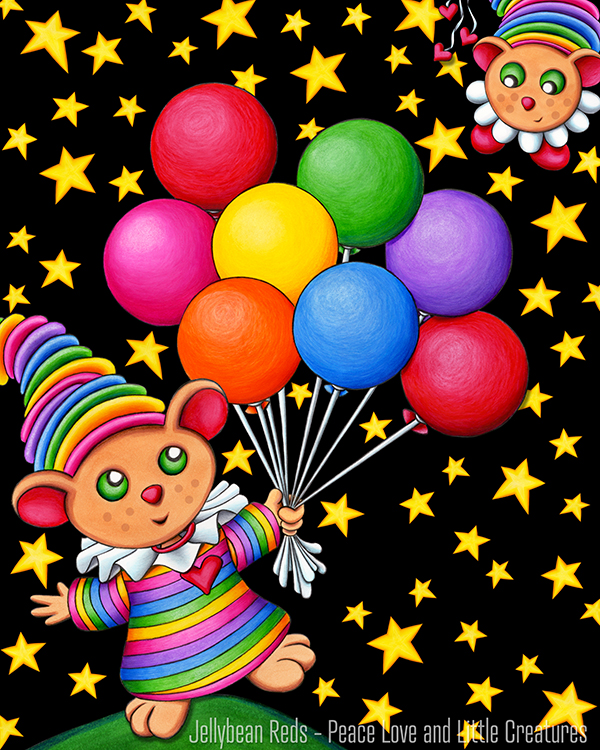 Birthday Bear with Rainbow Balloons - Starry Sky Scene