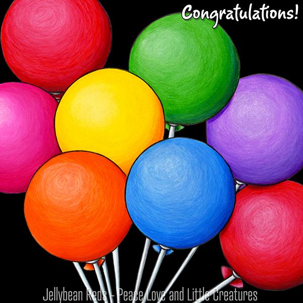 Birthday Bear's Rainbow Balloons - Congratulations!