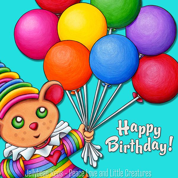 Birthday Bear with Rainbow Balloons - Happy Birthday