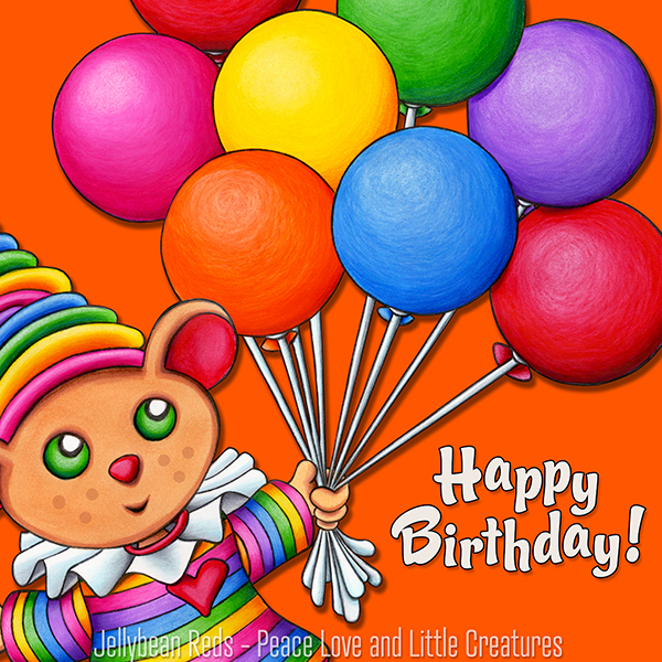 Birthday Bear with Rainbow Balloons - Happy Birthday