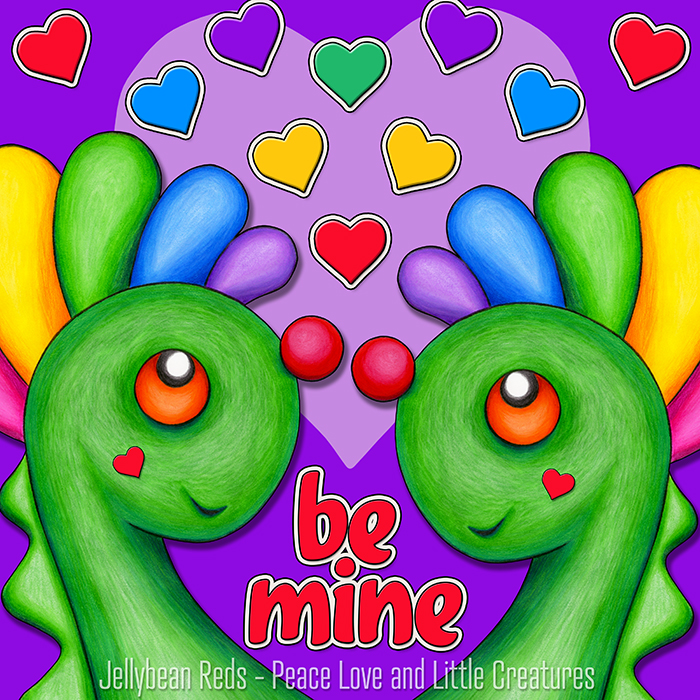 Be Mine - Two Dragons with Rainbow Hearts